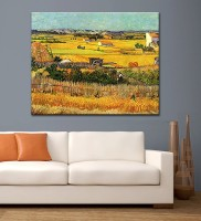 Tallenge Old Masters Collection - Harvest At La Crau With Montmajour In The Background By Vincent Van Gogh - Medium Size Ready To Mount Gallery Wrap C