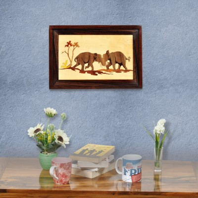 Designer Lanes ,Dueling Elephants, Rosewood Wall Panels Natural Colors Painting