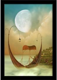 Artzfolio Fantasy Landscape With Boat Framed Art Print Digital Reprint Painting(18.0 inch x 12.0 inch)
