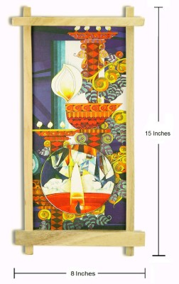 Thw Abstract Art with Wooden Frame Enamel Painting