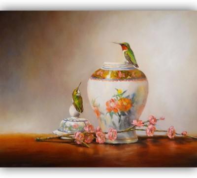 Vitalwalls Rubies & Porcelain-By-lori Mcnee -Premium Art Print Canvas Painting