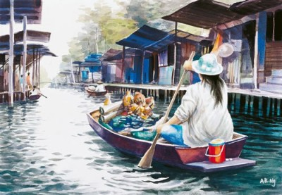 IMFPA Chinese Water Market Unframed Reprint Painting Canvas Painting
