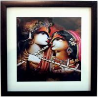eCraftIndia Radha Krishna Satin Matt Texture Canvas Painting(9 inch x 9 inch)