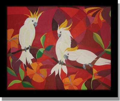 Yudezine Red Parrot Canvas Painting