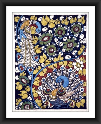 KalaSanthe Peacock & Tree Of Life In Kalamkari Art Canvas Painting