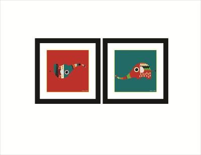 Rkason Desi Hathi Set of 2 Frames Ink Painting