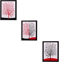 H'Decor Set of 3 Abstract Tree Matt Textured Canvas Painting(14 inch x 11 inch)