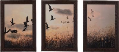 eCraftIndia Set Of 3 Flying Birds Showpiece  -  35 cm(Wooden, Paper, Multicolor)
