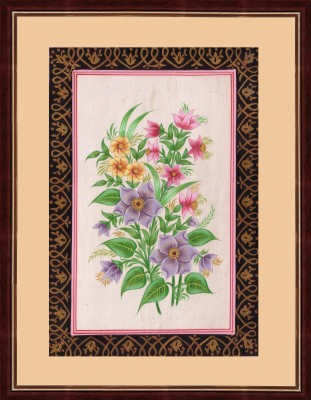 Splendid Indian Art Splendid Indian Mughal Period Realistic Flower ,A Lovely Bunch of Flowers, Indian Miniature Painting on Silk with Natural Colours & Gold Natural Colors Painting