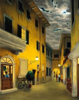 IMFPA Venetian Street Unframed Reprint Painting Canvas Painting