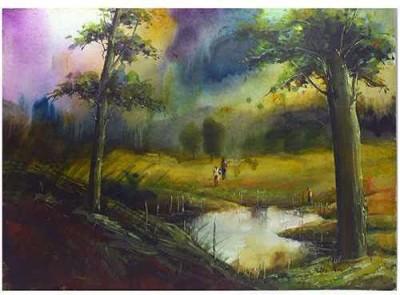 Craffitorium eServices Pvt. Ltd. Village Resovoir Watercolor Painting