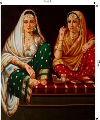 Tiedribbons Indian Females unframed Cotton Medium Grain Canvas Roll (Set of 1)