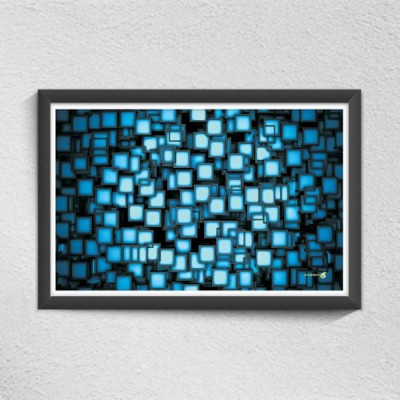 Pics And You Abstract Boxes Digital Reprint Painting