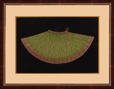 Splendid Indian Art Splendid Indian 18th Century Rajasthani Emboss Painting ,Royal Rajputi Costume - Ghaghra, Indian Miniature Painting on Paper with Natural Colours Natural Colors Painting