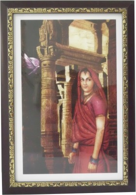 Quality Mart Traditional Lady In A Fort With A Frame Canvas Painting