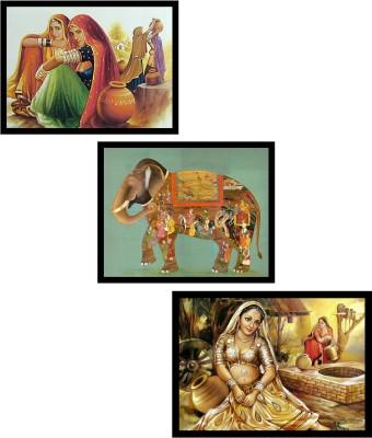 DKH handicrafted rajesthani art set of 3 pc Digital Reprint Painting