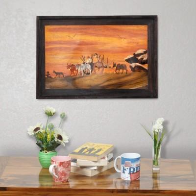 Designer Lanes ,Village Scene - Bullock Cart ride at sunrise, Rosewood Wall Panels Natural Colors Painting