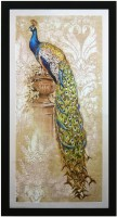 MAF Beautiful Peacock Canvas Painting(25 inch x 13.2 inch)