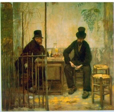 Snapgalaxy Art Panel - Absinthe Drinkers by Raffaelli Canvas Painting
