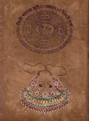 Raddon Indian Miniature Necklace Ethnic Art Vintage Stamp Paper Ink Painting