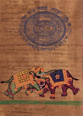 Raddon Indian Miniature Elephant Ethnic Art Vintage Stamp Paper Ink Painting