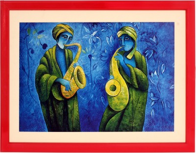 Art N Hub Musical Textured UV Effect with Acrylic Glass Ink Painting(16 inch x 22 inch) at flipkart