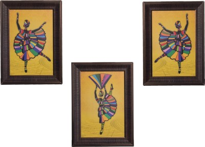 eCraftIndia Set Of 3 Dancing Girl Showpiece  -  35 cm(Wooden, Paper, Multicolor)