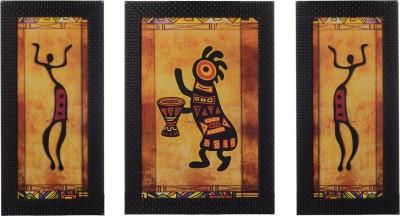 eCraftIndia Set Of 3 Abstract Tribals Showpiece  -  35 cm(Wooden, Paper, Multicolor)