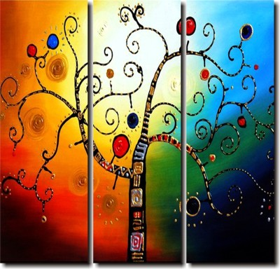 2 O Clock Multicolor Designer Wall Hanging Canvas Painting