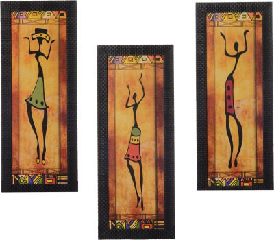 eCraftIndia Set Of 3 Tribal Lady Showpiece  -  35 cm(Wooden, Paper, Multicolor)