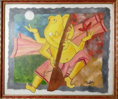 Bling N Beads Ganesha Canvas Painting