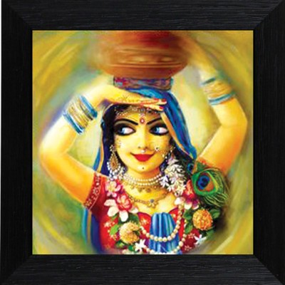 MLH Handicraft Nat-Khat Radha Royal Touch Matt Taxtured Print Canvas Painting