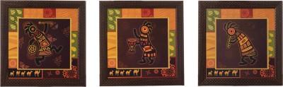 eCraftIndia Set Of 3 Tribal Lady Showpiece  -  35 cm(Wooden, Paper, Multicolor)
