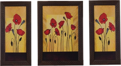 eCraftIndia Set Of 3 Floral Showpiece  -  35 cm(Wooden, Paper, Multicolor)