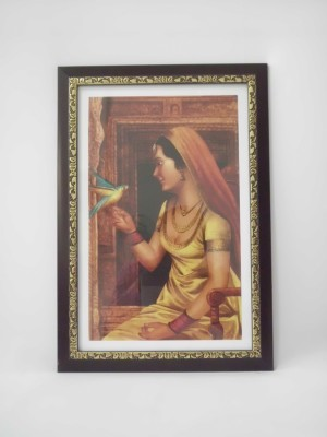 Quality Mart Traditional Punjabi Lady With A Parrot With Frame Canvas Painting