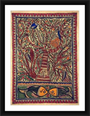 KalaSanthe Tree Of Life,Peacock And Fish-Madhubani Art Canvas Painting