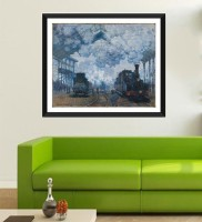 Tallenge Old Masters Collection - Saint Lazare Station In Paris, Arrival of a Train By Claude Monet - Premium Quality Framed Digital Photo Print For H