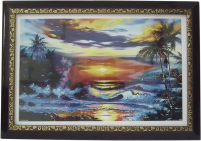 Quality Mart Sunset View With Flowing Waters With Frame Canvas Painting