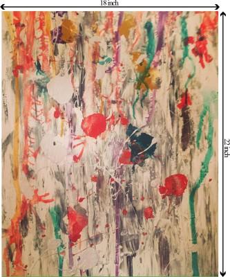 Tiedribbons Mordern Art Color Splash unframed Cotton Medium Grain Canvas Roll (Set of 1)