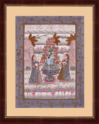 Splendid Indian Art Splendid Indian Mughal Period Rajasthani ,Krishna Balram With Gopi,s, Indian Miniature Painting on Silk with Natural Water Colours Natural Colors Painting
