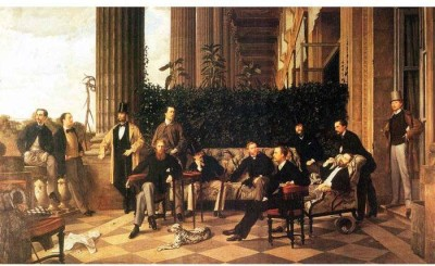 Snapgalaxy Art Panel - The circle of the Rue Royale by Tissot Canvas Painting