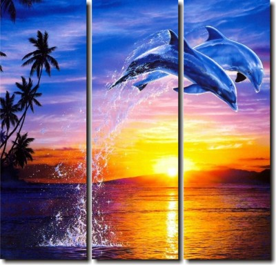 2 O Clock Multicolor Designer Dolphins Wall Hanging Canvas Painting