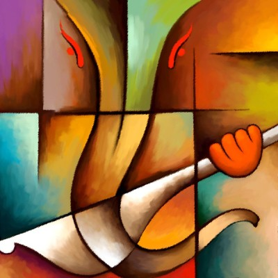 Red2red Ganesh Ji in Modern Art on Canvas Print Canvas Painting