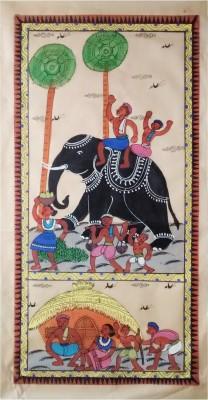 Indiana Orissa Pattachitra - Tribal Life Canvas Painting