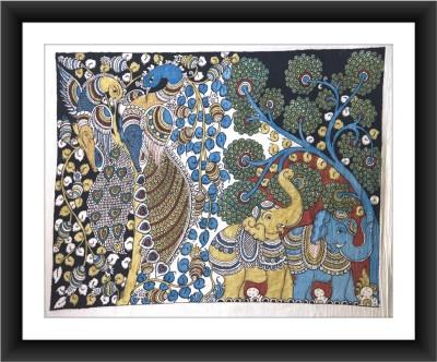 KalaSanthe Tree Of Life,Elephants And Peacock In Kalamkari Art Canvas Painting