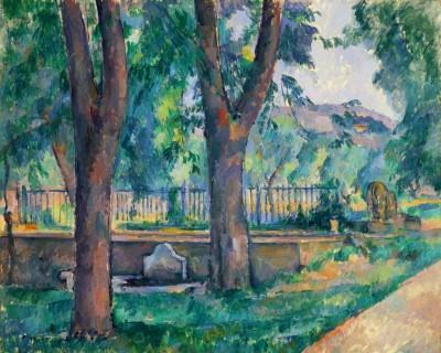 Ocher Art 25x31 INCHES, Cezanne, Pool at Jas de Bouffan Canvas Painting