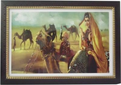 Quality Mart Traditional Rajasthani Lady On a Camel Ride With A Frame Canvas Painting