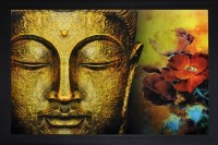 SAF Buddha Textured Print with UV Canvas Painting(14 inch x 20 inch)