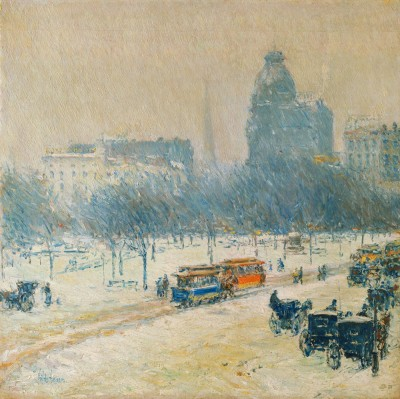 Ocher Art 30x30 INCHES, Childe Hassam   Winter in Union Square Canvas Painting 30 inch x 30 inch  available at Flipkart for Rs.8150