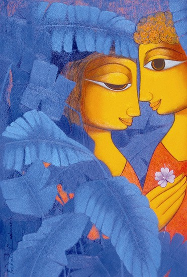 Mansha Enterprises Couple-2 Acrylic Painting(30 inch x 18 inch)